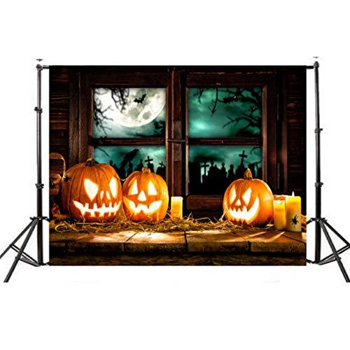 faschingskostuem qualle VEMOW Halloween Party Dekoration Kulissen Kürbis Vinyl 5x3FT Laterne Hintergrund Fotografie Studio Wandaufkleber 150 * 90cm(Mehrfarbig, 150 * 90cm)