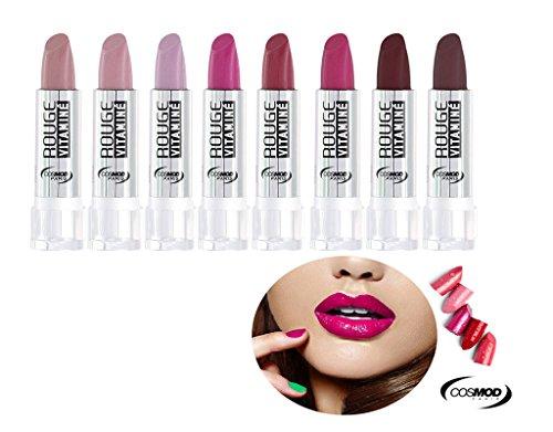 Lot 8 Rouge à lèvres Hydra Vitaminé - Nuancé de Rose à Prune - Cosmod