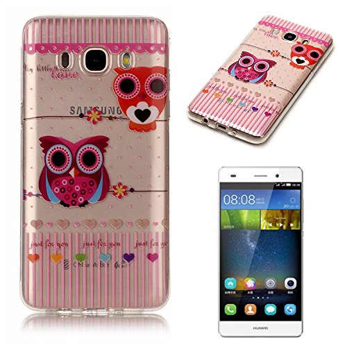 Samsung Galaxy J7 (2016 Version) Coque Gel TPU Silicone Etui Intégrale Transparent Case pour Samsung Galaxy J7 (2016 Version) Housse Protection Full Silicone Souple Case, Vandot Samsung Galaxy J7 (201 C-Hibou