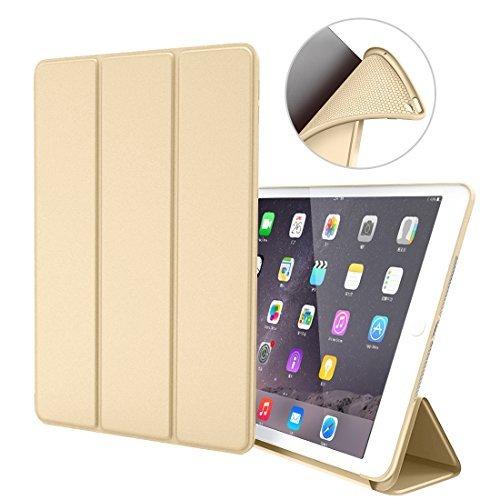 iPad Air 1 Hülle,GOOJODOQ iPad Air 1 PU Leder Etui Hülle Tasche mit Ständer Funktion und Eingebautem Magnet für Einschlaf/Aufwach Shockproof Silikon Weicher TPU Folio Hülle für Apple iPad Air 1(gold)