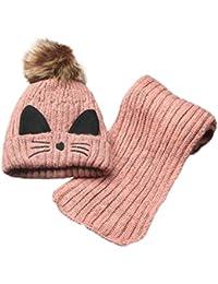 Tpulling Bonnet Bebe, garçons Filles Hiver Chaud Chapeau Enfants tricotant  Boule Chapeaux écharpe aedba6db64a