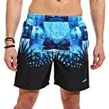 Diadora Patterned Elastic-Waist Side-Pocket Swim Shorts for Men 4XL