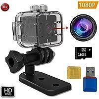Impermeable FabQuaity mini cámara de visión nocturna SQ12 BONUS HD 16GB Tarjeta SD, cámara de acción deportiva videocámara 1080P DV Video Grabador DVR coche de infrarrojos de detección de movimiento de la cámara para bicicleta Buceo Esquí etc