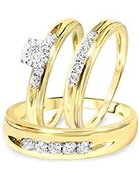 Silvernshine Men's & Women's 1/2 CT Diamond Trio Wedding Ring Set 14k Yellow Gold .925 Silver