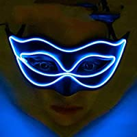 Yukun Máscara Fiesta de Princesa de Halloween Mascarada Fiesta máscara Luminosa Mariposa Fiesta Pintada Led Juguete de Media Cara, Azul
