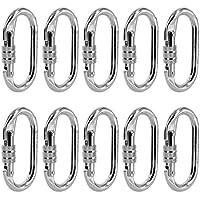 MagiDeal (5 Stück / 10 Stück Auswählbar) Stahl Karabiner Schnapphaken 25KN Schraubkarabiner, Stabil und Robust screw-lock carabiner