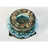 MHE- Metal Carving Glass Ash Tray With Sky Blue Colour