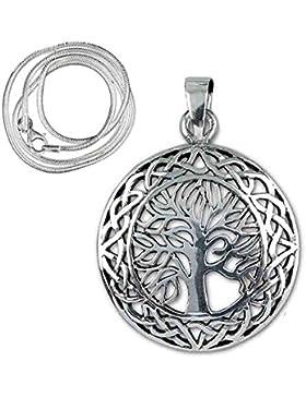 Anhänger Baum des Lebens Keltischer 925er Silber Schmuck Heilung mit 1,2mm Schlangenkette 45 cm Halskette 5503...