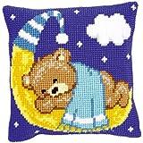 Vervaco PN-0148196 Kreuzstichkissen Teddy auf Mond, blau