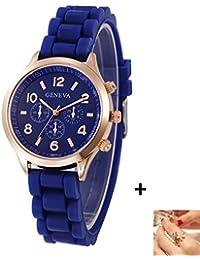 Geneva Platinum Analogue Watch For Women And Girls - GP-379 (Blue)