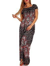 aa741020875e Young-Fashion Maxi-Kleid Carmen Kurzarm und mit Ausschnitt - als Stylisches  Strand-