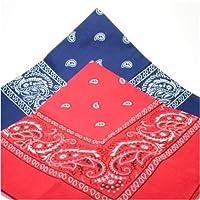 PAISLEY BANDANA scarf duo 1 x BLUE 1 x RED