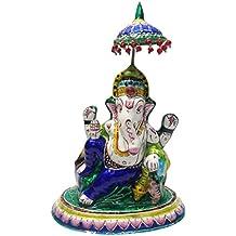 Varanasi Craft Gulabi Meenakari Lord Ganesha Idol (10.16 cm x 6.6 cm x 14.22 cm)