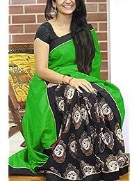 KBF Women's Cotton Silk Saree With Blouse Piece (Tx-New Green Durga_Green)