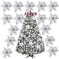 SERWOO 15pcs Flores Artificiales Decoraciones Árbol Navidad Boda Fiesta DIY Color Plateado (Diámetro 15 cm)