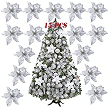SERWOO 15pcs Flores Artificiales Decoraciones Árbol Navidad Boda Fiesta DIY Color Plateado (Diámetro ...