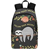 Interestprint Sloth Fllow Your Dream Quote Casual Backpack College School Bag Travel Daypack