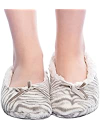 FRALOSHA Zapatillas de terciopelo de coral de invierno de las mujeres de Zapatillas de felpa Zapatos antideslizantes suaves del piso