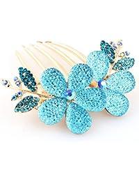 YAZILIND Joyas Elegante nupcial de la boda de estilo floral accesorio de pelo Shinning Cintilante de cristal Rhinestone pinzas de pelo de peinado para las mujeres