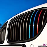 Wandkings–Adhesivos para parrilla delantera–con colores reflectantes (azul oscuro, rojo, blanco plateado, luz azul)