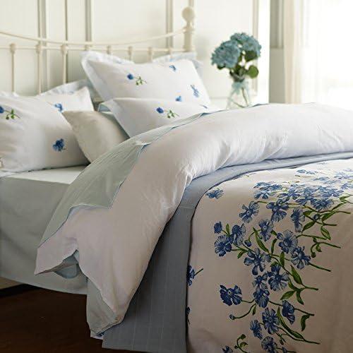 KKCDB Lino Quattro Pezzi di Letto in Francese Pastorale,blu,1.5m Pastorale,blu,1.5m Francese (5 Feet) Bed, 26b50b