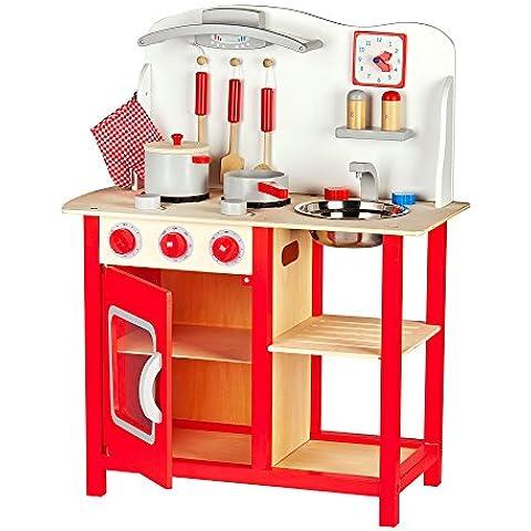 Cocina de juguete con accesorios Cocina de juguete de madera - Classic, rojo