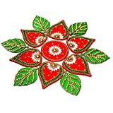 KRIWIN® 10 to 11 inches Dia -Floor/Wall/Table Rangoli Decorative Showpiece (Acrylic) (Leaf)