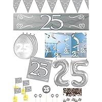 Dekoset Silberhochzeit Silberne Hochzeit Luftballons Servietten Kerzen