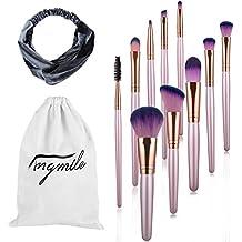 Juego de 10 brochas de maquillaje Angmile de alta densidad para base de maquillaje y polvos de sombra de ojos y práctico para maquillaje diario