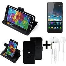 TOP SET: 360° Funda Smartphone para ZTE Nubia Z7 Max, negro + Auriculares | Función de stand Caso Monedero BookStyle mejor precio, mejor funcionamiento - K-S-Trade | Funda Universal Caso Monedero cubierta del tirón Monedero Monedero
