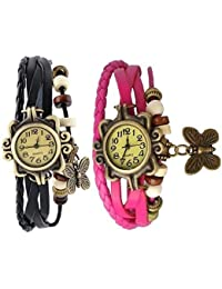 RTimes Pink and Black Vintage Designer Leather Set of 2 Multicolor Bracelet Butterfly Watch for Girls, Women