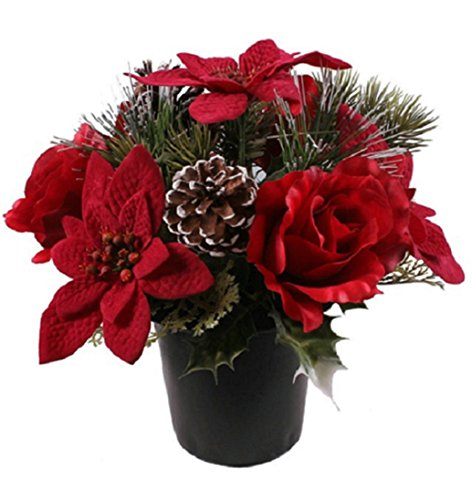 Memorial Artificial Christmas Crem/Graveside Pot With Red Poinsettias amp; Roses