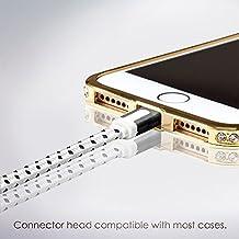 Cable Lightning para Apple iPhone 7, 6, 6s, 5, iPad, iPod - 1m, Blanco, Plano - Cordon Cargador de Carga y Sincronización de datos - USB Syncwire de SWISS-QA - Devolución del Dinero Garantizad