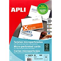 Apli 100976 500 Cartes de Visite, 90mm x 50,8mm, 200 g, Blanc