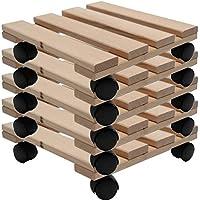 Planta Roller Madera Maciza De Haya Estable madera rectangular 30cm x 30cm–Con Ruedas (Soporta hasta 120kg