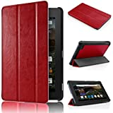 Fire 7 2015 Etui, Swees Ultra Slim Léger Smart-shell Stand Etui pour Amazon Fire (5th Generation - 2015 release) - Rouge