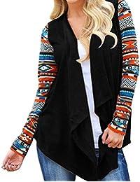 Tongshi Prendas de abrigo para las mujeres Boho Irregular de manga larga chaqueta