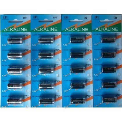 Eunicell Lot de 20 piles alcalines LR1 MN9100/AM5/N 1,5 V