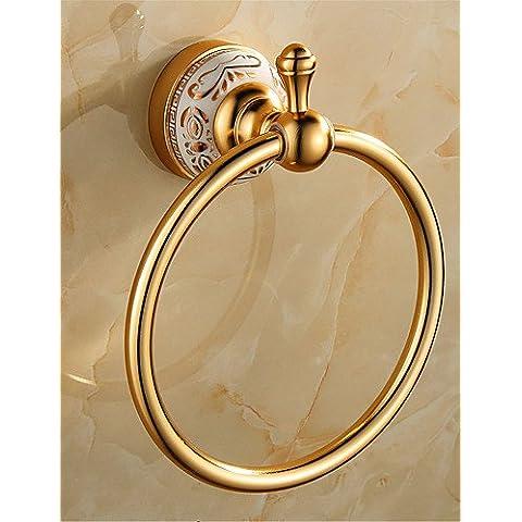 haisi accessori da bagno/Portasciugamani/Racks/ganci/dentifricio/spazzola/fine sapone dispenser per box anello portasciugamani, antico alluminio montaggio a parete gold