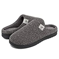 welltree House Shoes for Men Soft Indoor Slippers Warm Winter House Slippers Slip on Home Clogs Plush with Soft Fuzzy Liner 11-12 Men/RenBlack/44-45EU