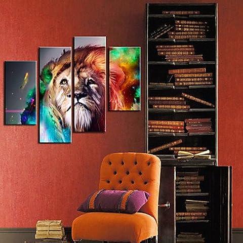 LAPS Reproducción en lienzo de arte de la impresión animal del león Juego de 4