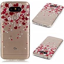 Aeeque® Coque LG G5 en Silicone, Original Ultra Fine Etui en TPU Gel Souple Flexible avec Motif Fleurs et Amour Rose ou Rouge Anti Choc Résistant aux Rayures Protecteur Arrière Housse Bumper pour LG G5