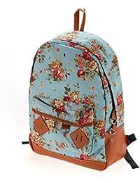 Bleu toile sac vintage fleur sac de livres sur le campus de l'école à dos