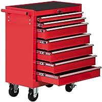 Yahee Werkzeugwagen Werkstattwagen 7 Fächer auf 4 Rollen kugelgelagert Werkzeug Rollwagen Rot