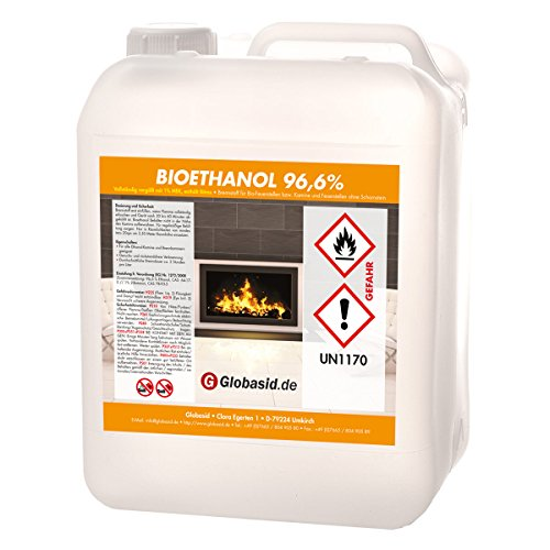 Bio-Ethanol 10 L 96,6{48cf9dff7a76215489c929303f0679332b5f8ac7d88e926fa072f359ab302d38} für Kamin Brennstoff für Deko-Kamine im Innen- und Außenbereich umweltfreundliche und sichere Anwendung Bio-Alkohol ist geruchsneutral & verbrennt rückstandslos
