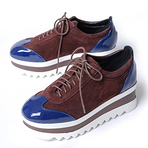 scarpe con la suola spessa in autunno/Pattini della piattaforma/Profondo pizzo scarpe casual-C Lunghezza (Nero Smooth Pu Bambini Scarpe)