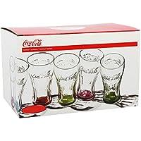 Coca Cola 1613100 - Lote de 6 vasos, fondo de colores transparentes