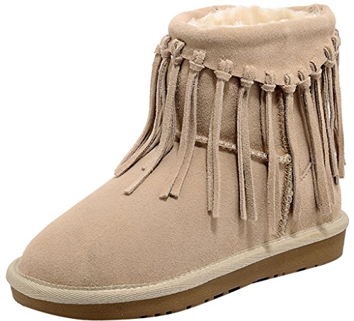 ELEHOT Donna Elefancya senza tacco 2CM Leather Stivali, beige, 40.5