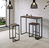 Kit Closet set da tavolo + 2sgabelli alti set, Nero/Marrone