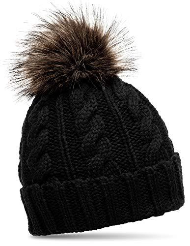 Caspar MU104 Damen Strickmütze mit Fellbommel, Farbe:schwarz, Größe:One Size -